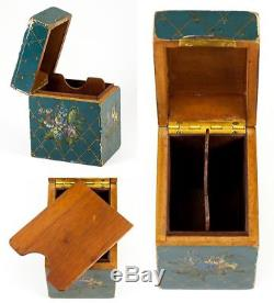 Antique French 2-Deck Playing Cards Box, Casket, Hand Painted, Vernis Martin