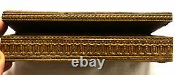 Antique French Brass Hinged Hand Painted Portrait Jewelry Casket Box Blue Enamel