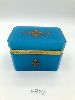 Antique French Brilliant Blue Opaline Glass Box with Hand-painted Embellishments