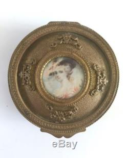 Antique French Bronze Copper Jewelry Box With hand painted portrait on ivory