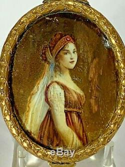 Antique French Empire Oval Hinged Mirrored Trinket Box Hand Painted Portrait