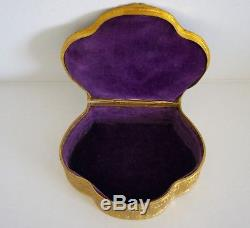 Antique French Gilt Bronze Hand Painted Portrait Jewelry Box Jeweled