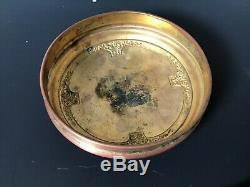 Antique French Guilloche Enamel Hand Painted Jewelry Box Hand Mirror Putti Angel