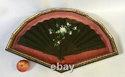 Antique French Mourning Fan Hand Painted On Silk In Shadow Box LARGE
