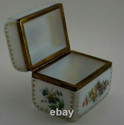 Antique French Opaline Glass Hand Painted Flowers