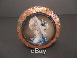 Antique French Sterling Silver Guilloche Enamel Hand Painted Box Portrait Woman