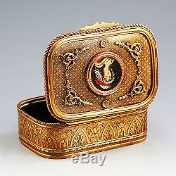 Antique French gilded Bronze Box, hand painted Miniature Portrait, hinged lid