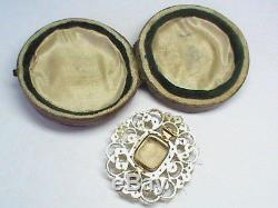 Antique Georgian Gold Seed Pearl Locket hand painted Miniature Brooch in box