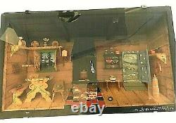 Antique German Lodge Hand Carved/Painted Wood 3D Diorama Shadow Box