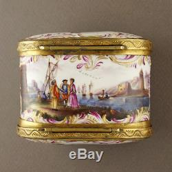 Antique German Porcelain Snuff Box Dual Sided Lids Hand Painted Harbor Scenes