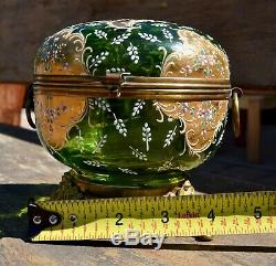 Antique Green Bohemian Glass, Hand Painted Jewelry Box, Circa 1800's