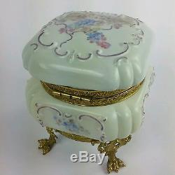 Antique Hand Painted Alabaster Footed Jewelry Trinket Box