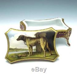 Antique Hand Painted Fraureuth Porcelain Dog Box THE WOLFHOUND by Paulus Potter