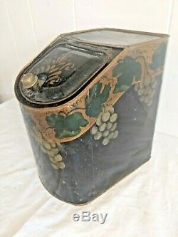 Antique Hand Painted Grapes Toleware Tea Tin Box General Store Canister 10