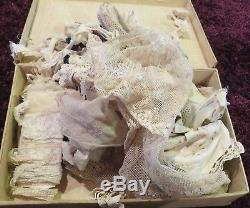 Antique Handpainted Cloth Box 16 x 9 Chock Full of Antique Various Laces