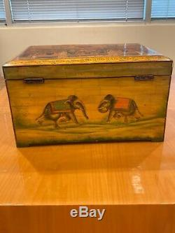 Antique Inlaid Wooden Box Persian Hand Painted Large Keepsake