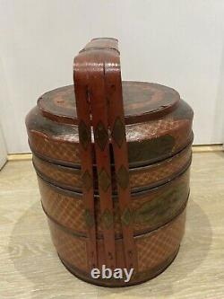 Antique Japanese Bento Box 19th Century Meiji Red Lacquer 3 Tier Hand Painted