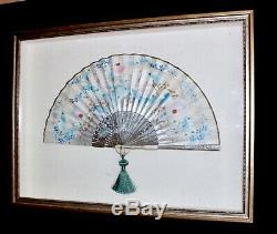 Antique Japanese Chinese Hand Painted Folding Fan Encased In Display Shadow Box
