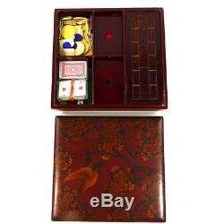 Antique Japanese Meiji Lacquer Games Box With Cribbage