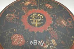 Antique Lacquered Papier Mache Chinese Box Round Black Hand Painted Dore Red