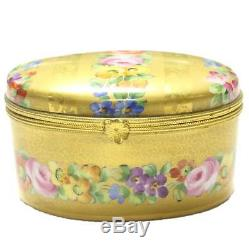 Antique Le Tallec French Porcelain Trinket Box Gold Floral Hand Painted Signed