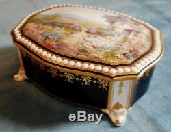 Antique Lidded Porcelain Box By Royal Crown Derby Handpainted By J. P Wale