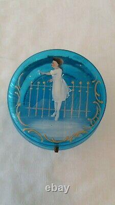 Antique Mary Gregory Blue Glass Hand Painted Enamel Jewelry Trinket Box