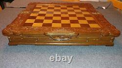 Antique Medieval Hand-Carved, Hand-painted Wood Chess Set in Box/Board