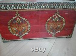 Antique Moroccan Cedar Wooden Box Covered Storage Hand Painted