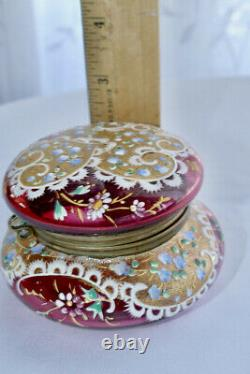 Antique Moser Hand Painted Enamel Cranberry 24 kt leaf guiding Glass Jewel Box