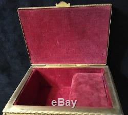 Antique Ornate Music Box Celluloid Brass Metal Hand Painted Courting Scene