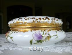 Antique Porcelain Dresser Box with Hand Painted Sweet Pea Flowers & Vines