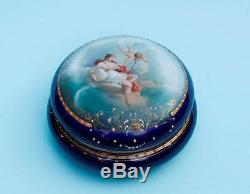 Antique Porcelain Royal Vienna Jewellery Box with Hand Painted Detail