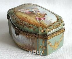 Antique Porcelain Snuff Box Serpentine Shape Signed Hand Painted Watteau Lovers
