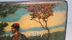 Antique Russian Lacquer Hand Painted Box Highly Detailed Scene Wow NR