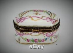 Antique Sevres Hand-Painted French Porcelain Trinket Pill Box Brass Hinge 1760