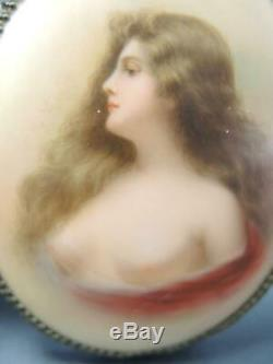 Antique Sevres Porcelain Box With Hand Painted Semi-Nude Portrait Signed Rose