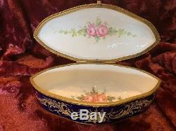 Antique Sevres Porcelain Lidded Jewelry Box Hand Painted