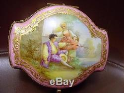 Antique Sevres Style French Porcelain Jewel Box With Hand Painted Scene & Gilding