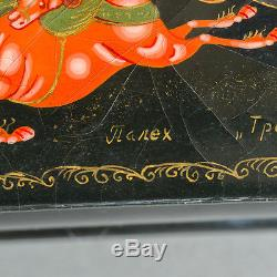 Antique Signed Hand Painted Russian Palekh Lacquer Box Black Horse Drawn Sleigh