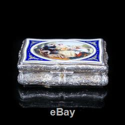 Antique Solid Silver Table Snuff Box with Hand Painted Enamel Scene 19th C