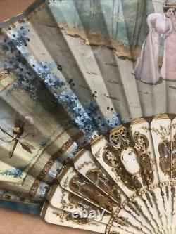 Antique Victorian French Handpainted Silk & Celluloid Hand Fan Shadow Box