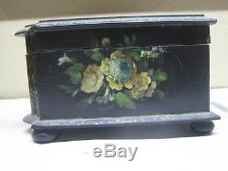 Antique Victorian Hand Painted Papier Mache Sewing/ Jewelry Box As Is
