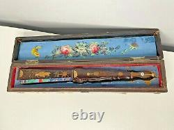 Antique Vintage Chinese Export Hand Painted Hand Fan In Original Box
