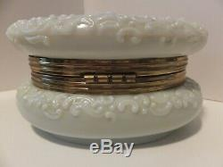 Antique Wavecrest Dresser Box with Satin Lining OVAL 5 1/4 pale yellow
