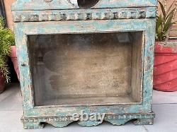 Antique Wood Hand Crafted Painted Wall Fixing Cabinet With Alarm Clock Case Box