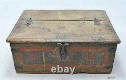 Antique Wooden Fine Cash Chest Box Original Old Hand Crafted Painted