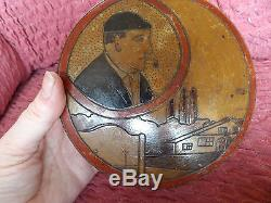 Art Deco Round Hand Painted / Stained Pokerwork Wooden Box Russian Signed Jacy