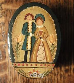 Artisan Therese Bahl's Hand Painted Marriage Box Signed 1981