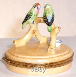 Artoria Limoges PARROTS IN GOLDEN CAGE-TRINKET BOX, #1005 Hand Painted & Signed